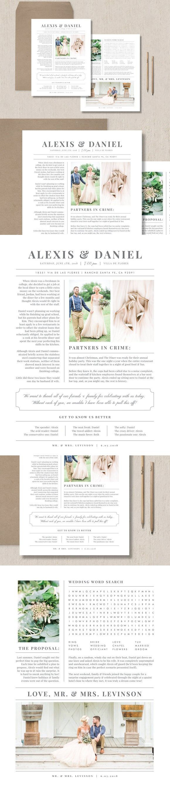 Wedding Newspaper Template. Flyer Templates