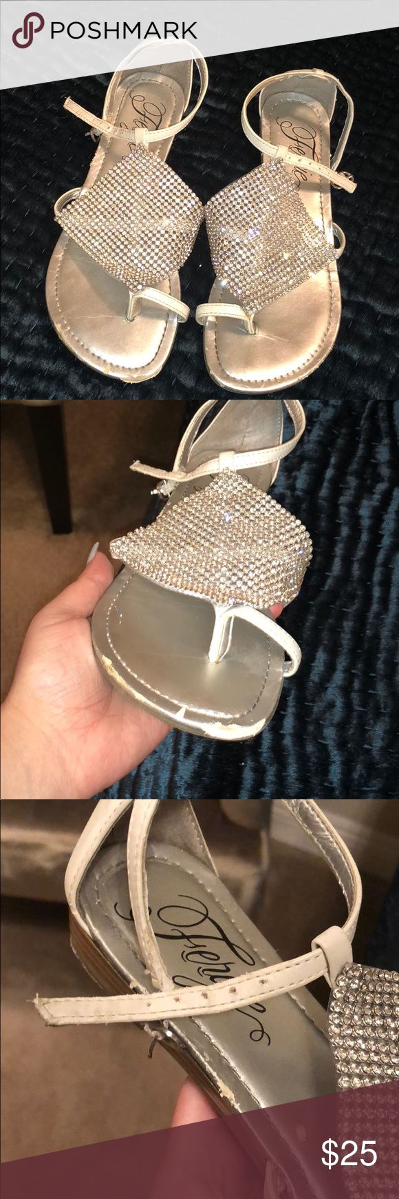 'Fergie' Sparkly sandals size 5 Worn maybe twice. Has some wears and tears from having the sandals for years. Very sparkly and cute on the feet. Fergie Shoes Sandals