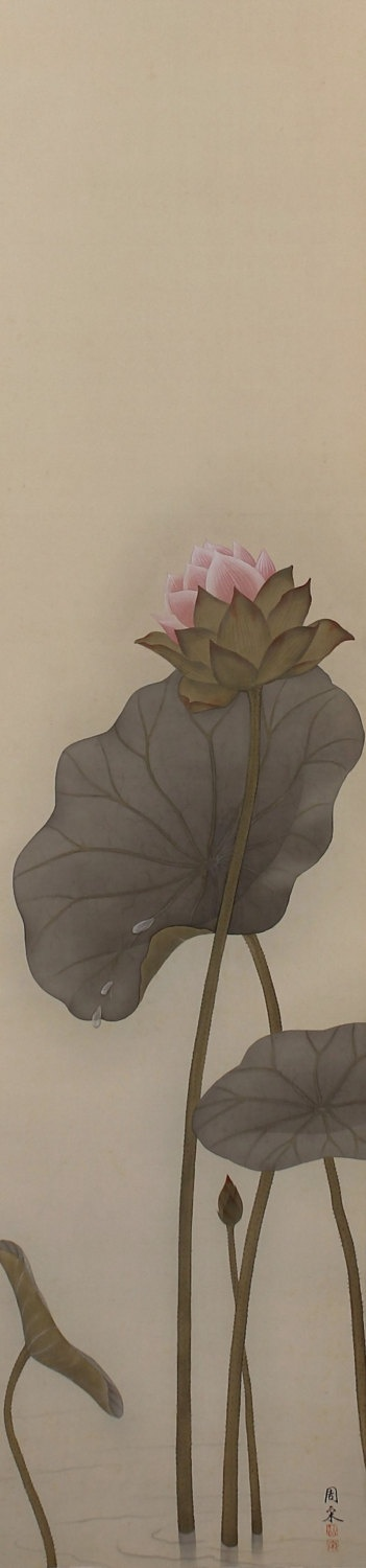 Lotus by Shuso. Vintage Japanese hanging scroll painting.