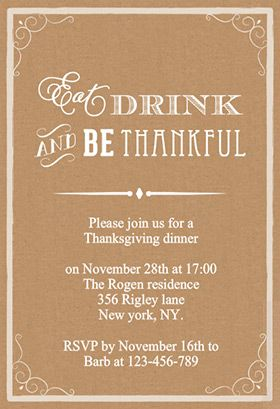 eat drink and be thankful printable invitation customize add text