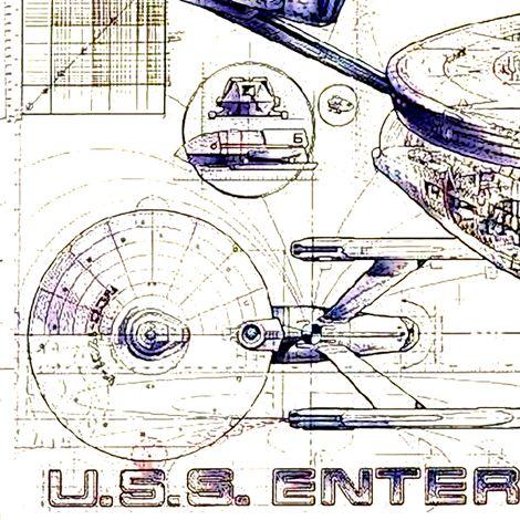 Enterprise Vintage Schematics fabric by retropopsugar on Spoonflower - custom fabric