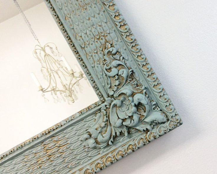 ANTIQUE FRAMED MIRROR Teal Green Framed Mirror by RevivedVintage