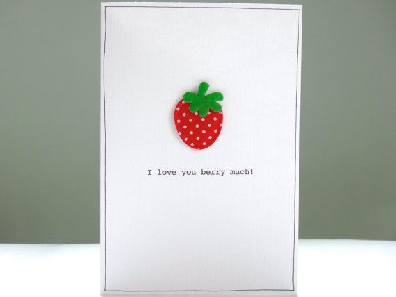 Funny Valentine Card - Romantic Valentines Day Card - strawberry pun joke valentine greeting - I love you berry much - boyfriend girlfriend