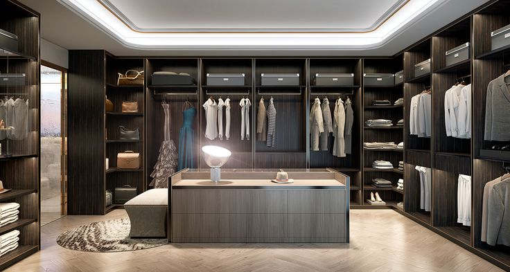 Massive walk in closet with a skylight #ModernMansions Hogar - bao vestidor