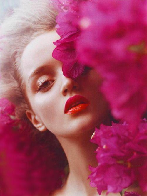 Bright coral glossy lips