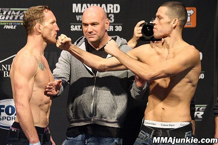 Gray Maynard & Nate Diaz square-off at TUF 18 Finale weigh-ins