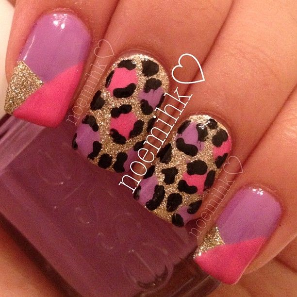 Gold, Pink, and Leopard Nails