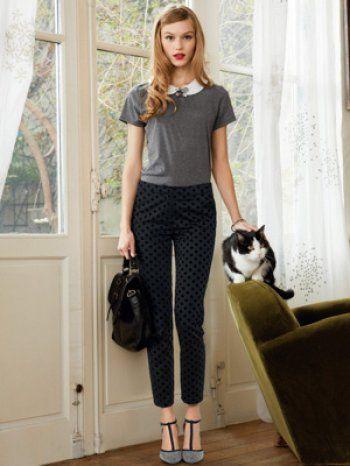Tee-shirt à col Claudine et pantalon à pois de Mademoiselle R