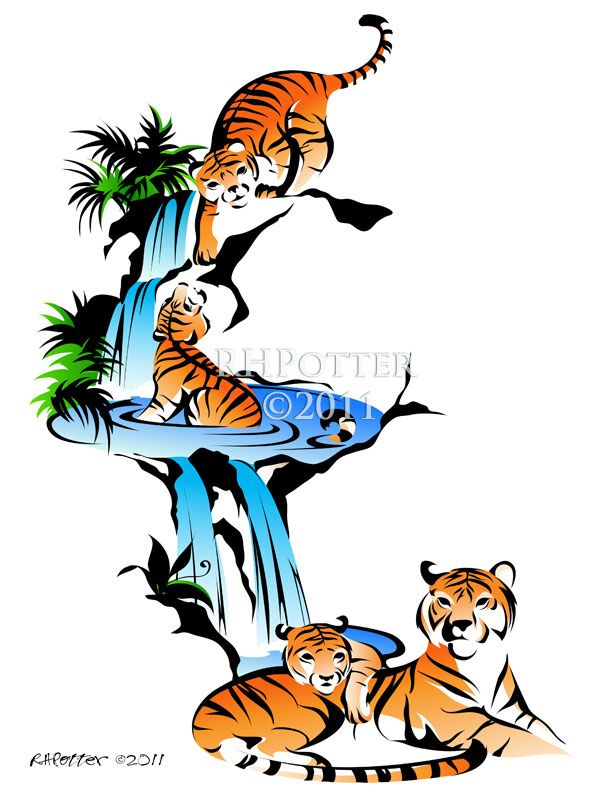 Tiger Waterfall By Rhpotter On Deviantart Tiger Tattoo Waterfall Tattoo Picture Tattoos
