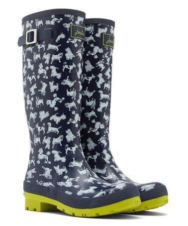 Another great find on #zulily! Navy Dog Welly Rain Boot - Women #zulilyfinds