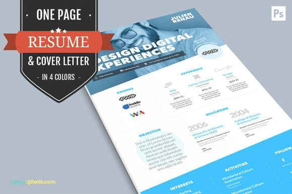 One Page Resume CV & Cover Letter by @Graphicsauthor