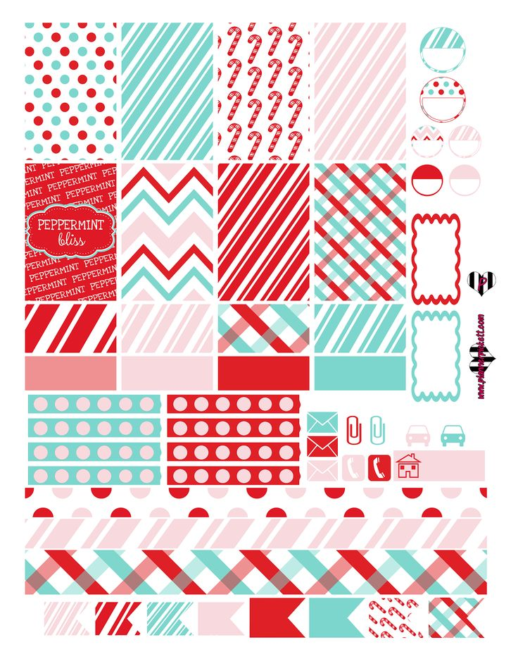 @planner.PICKETT: FREE 2 Page Peppermint Christmas winter Planner Sticker Printable
