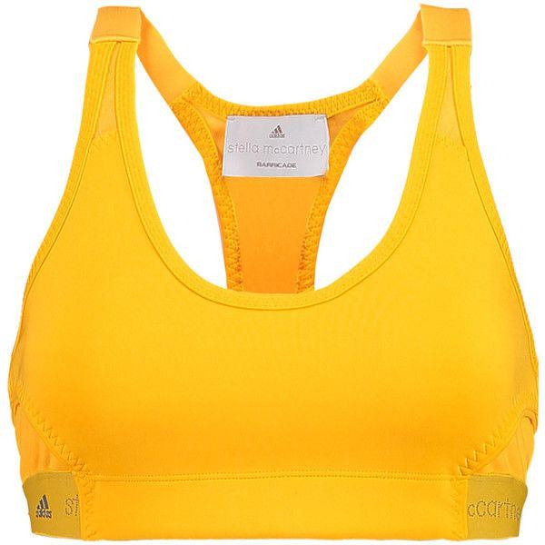 Adidas by Stella McCartney - Mesh-paneled Stretch-scuba Sports Bra ($30) ❤ liked on Polyvore featuring activewear, sports bras, marigold, adidas sports bra, adidas, yellow sports bra, adidas activewear and adidas sportswear