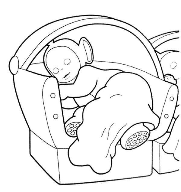 Teletubbies Sleeping Coloring Page