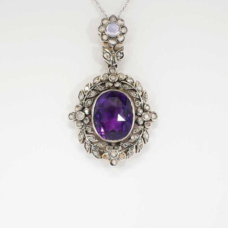 45 best vintage diamond necklaces antique pendants images on vintage 1950s 410ct tw amethyst rose cut diamond moonstone pendant sterling antique mozeypictures Gallery