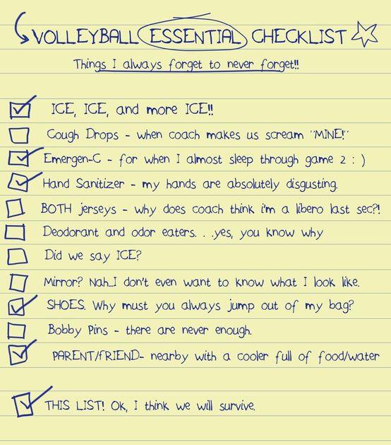 Volleyball Checklist Volleyball