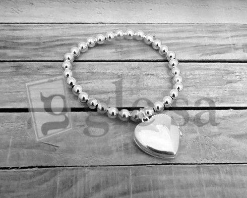 #bracciale sfere mm 5 con ciondolo a #cuore tableau #portafoto doppio - argento 925