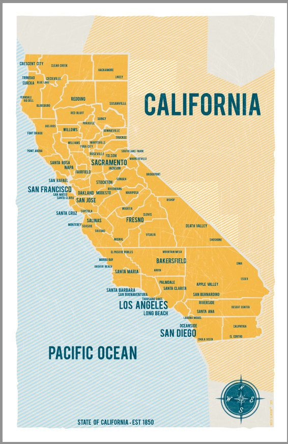 State Of California Map Poster In Yellow Vintage By
