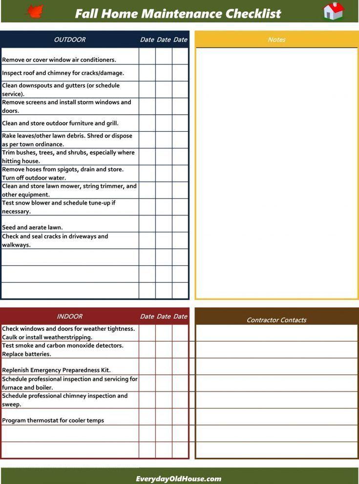 Checkliste Fur Die Wartung Des Freien Falls Zu Hause Google Docs Excel Und Pdf Formate In 2020 Home Maintenance Checklist Home Maintenance Maintenance Checklist