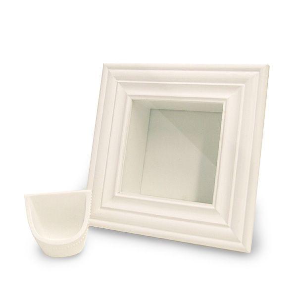 プリザーブドフラワー アミファ - モールドフレーム白 正方形 1コ