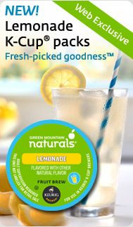 New Lemonade K-Cup packs from Green Mountain Naturals! The refreshing, sun-splashed flavor of fresh-squeezed lemons is now available from your Keurig brewer.