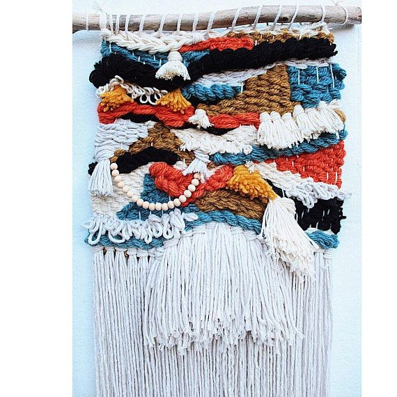 Eclectic woven wall hanging, bohemian tapestry art | Fibre crafts