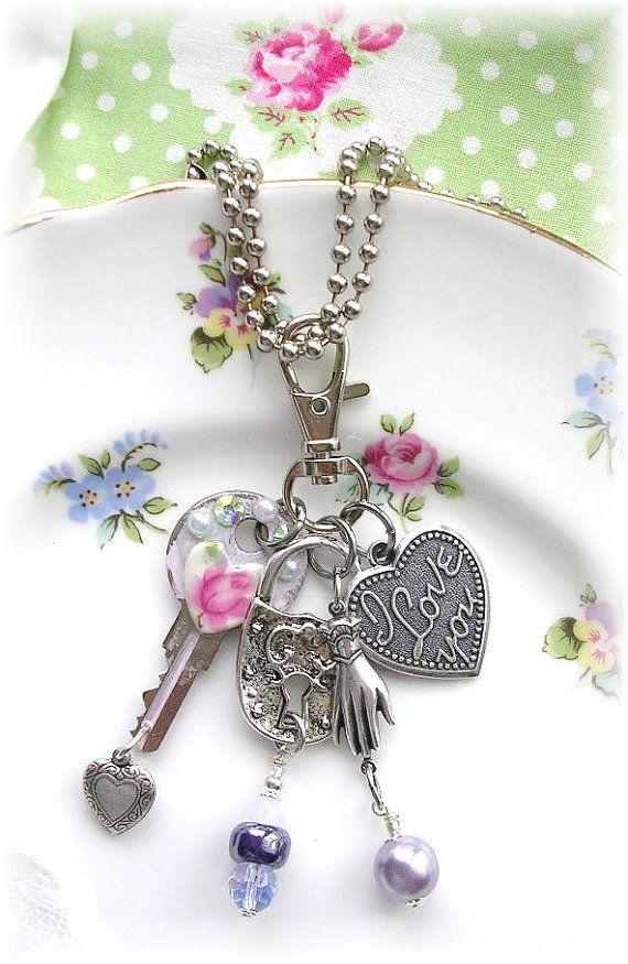 Vintage Key Zipper Pull Purse Bag Charm Fob Necklace Lock