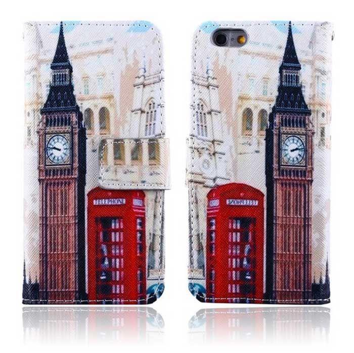 【London】ロンドン ビッグベン&テレフォンボックス マグネットフリップ iPhone 6 Plus カバー- *Union Jack mania*ユニオンジャックマニア*