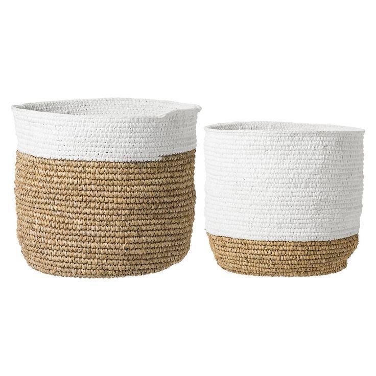 Design Vintage | White Raffia Baskets | Woven | Bloomingville