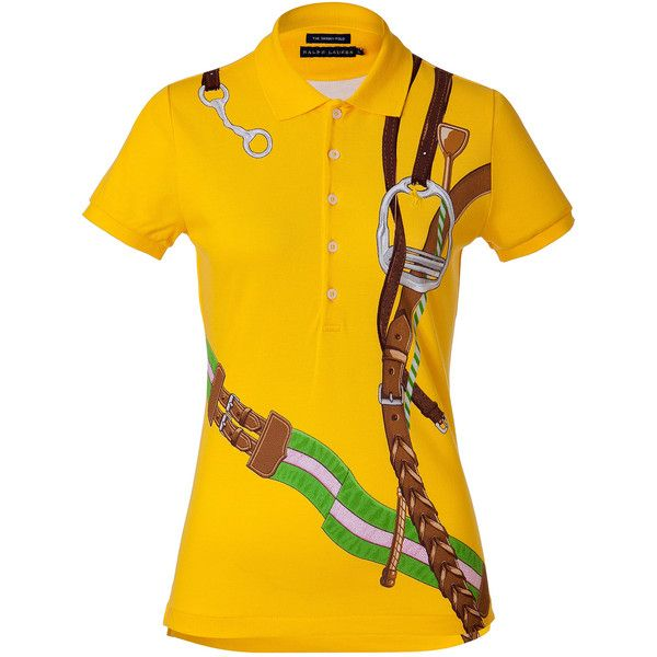RALPH LAUREN Yellow Bridle Print Skinny Cotton Polo Shirt ($175) found on Polyvore