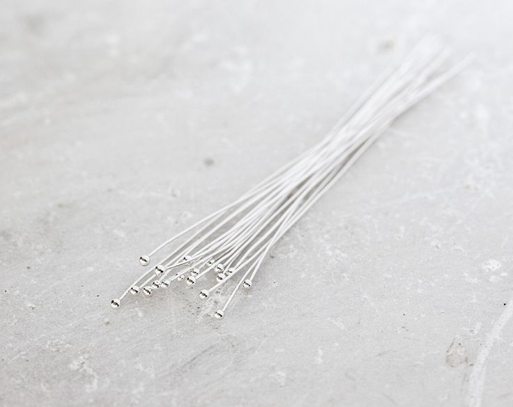 2154_Sterling silver pin 0.4x50 mm, Ball pins, Jewelry findings, Pin 925 silver…