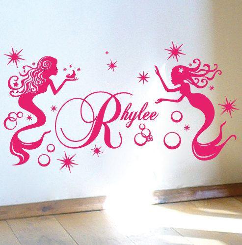 Custom Name Mermaid Stars Bubbles Vinyl Sticker Wall Art Decal Nursery On  Etsy, $24.95