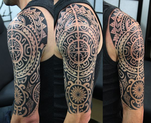 Cool Geometric Polynesian, Samoan, Maori, Tribal Tattoo sleeve tattoo. - I want Tattoo