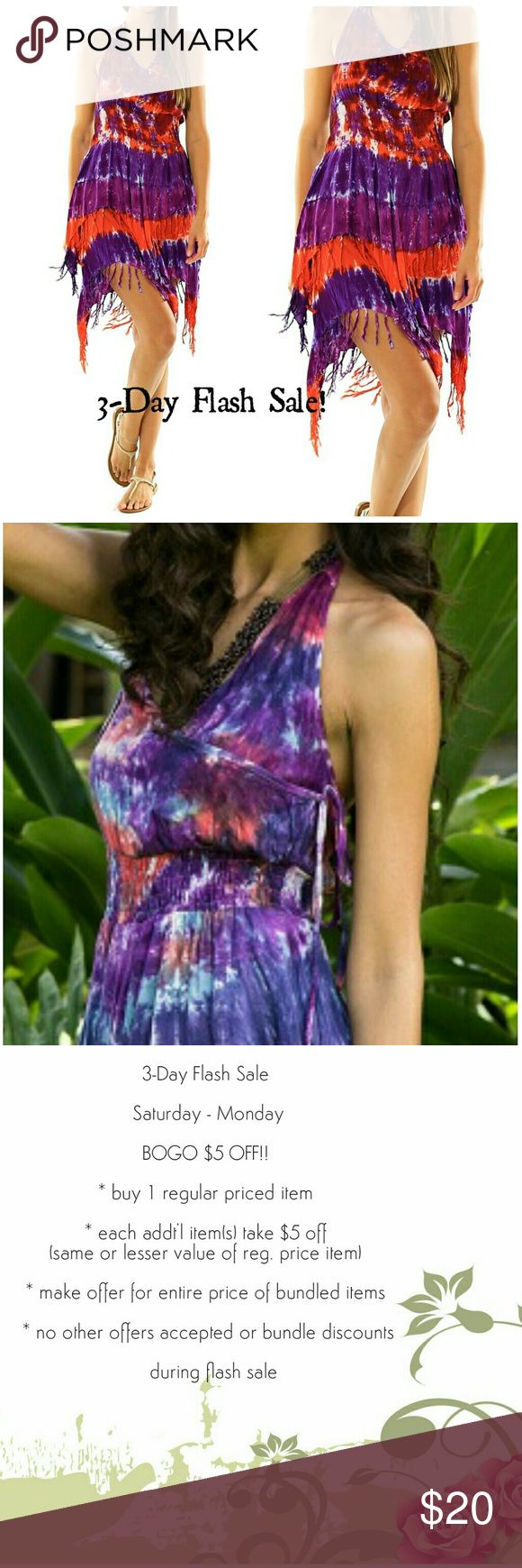 """BOGO $5 OFF! 💵💵 Buy one regular price item and take $5 OFF all additional items of same or lesser value to ☺️👍❤️  Festival Dress features a tie-dye pattern, neck-tie halter bodice with crossover underarm tie panel and elastic waist with two-level asymmetrical fringed hem. Purple/Red. 100 % Rayon.   2ND PICTURE IS TO SHOW CROSSOVER PANEL, THIS PANEL MAY HAVE A COWL DROP AFFECT.   Sizes: S (34""""), M (36""""), L (38""""),  XL (40"""") Length: 40"""" neck-to-longest hem  PLEASE CONTACT WITH ANY QUESTIONS…"""