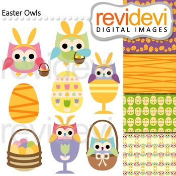 Easter clip art featuring cute owls with decorative eggs and basket. Great for TpT teacher seller.  Buy in bundle, and save more! Link-Clipart Easter (3 packs) Easter Bunny and Friends  These digital clip arts are great for teachers and educators for creating their school and classroom projects such as for holiday bulletin board, printable, worksheet, classroom decor, craft materials, activities and games, and for more educational and fun projects.