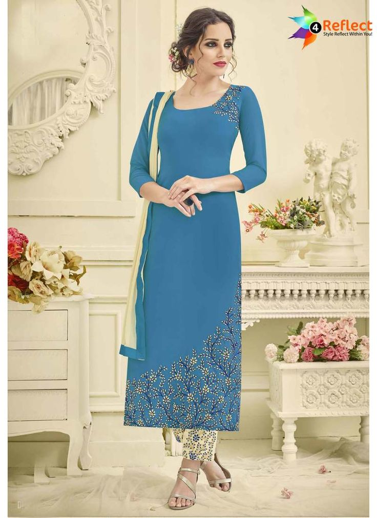EXCITING BLUE GEORGETTE CHURIDAR SUIT