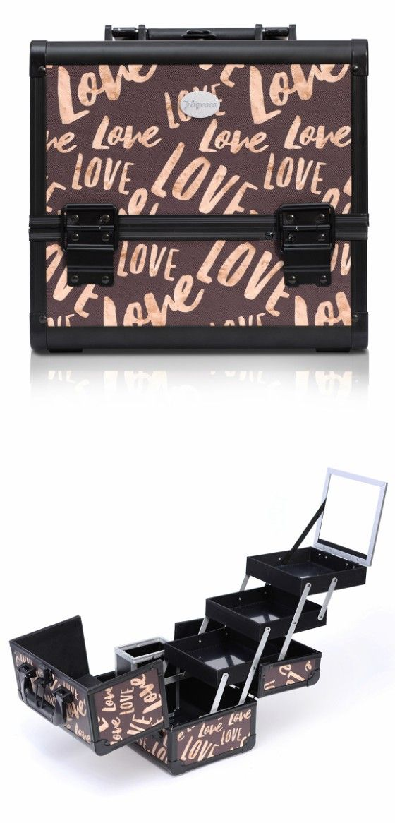 Brown Love Print Professional Makeup Train Case with Brush Holder--Joligrace Travel makeup case with mirror Artis makeup case Makeup vanity with storage Makeup organizer with mirror Best makeup case Big makeup case Cheap makeup organizer Cosmetic train case Makeup case with brush holder Makeup organizer with drawers Makeup case with lock Makeup artist train case Portable makeup case