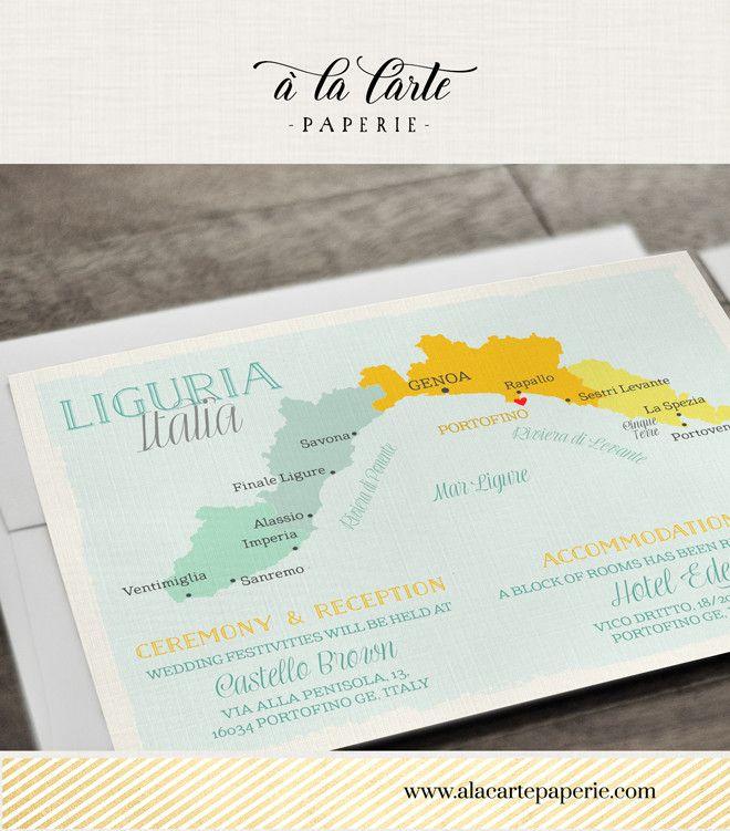 wedding invitations map%0A Info card map Portofino Liguria
