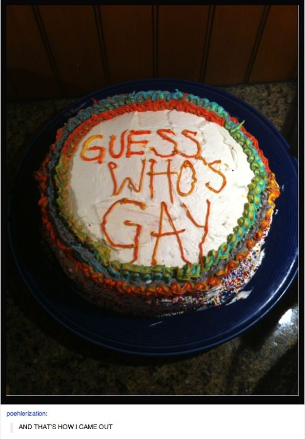 24 Awesomely Creative Ways To Come Out Of The Closet: Bake a cake