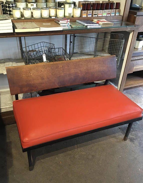 Amazing Mid Century Modern Bench Orange Vinyl Seat And Walnut Back Iron Legs With Brass Caps In Exce Mid Century Bench Mid Century Modern Bench Modern Bench