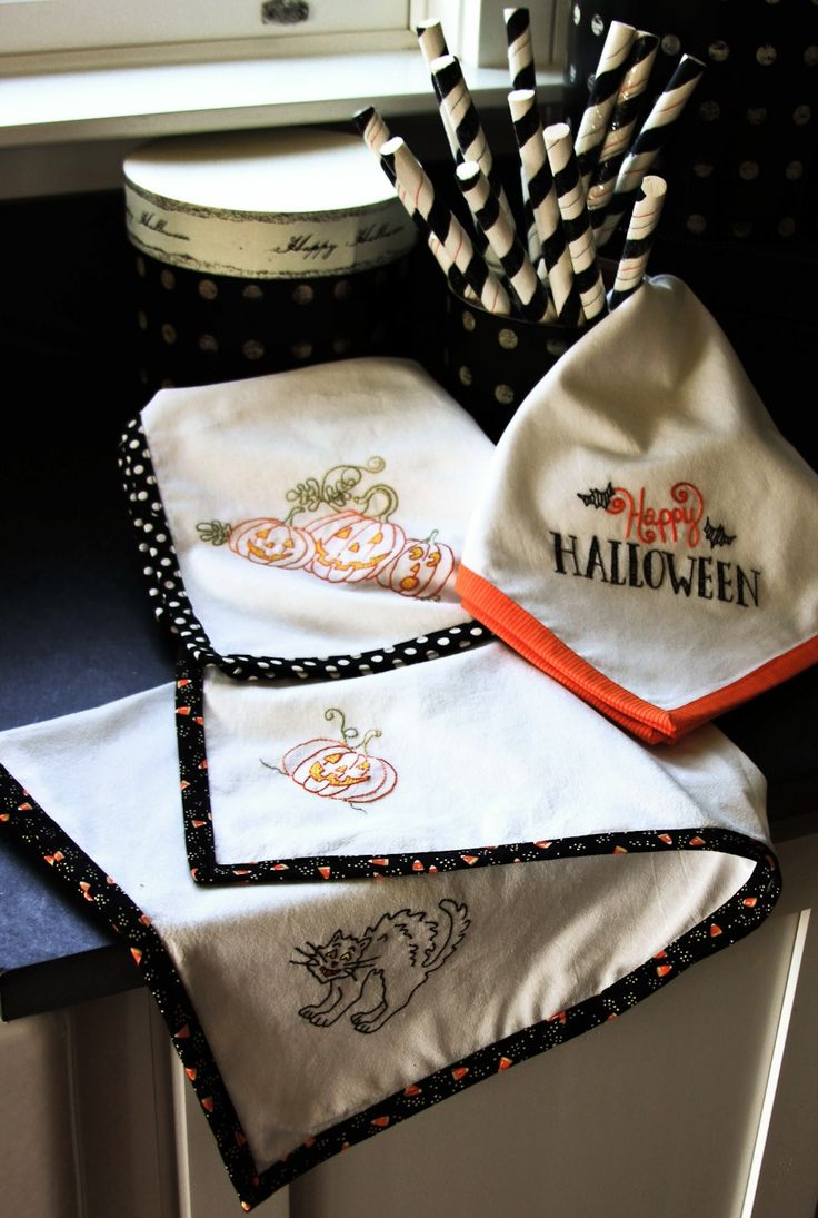 crab apple hill studio hand embroidery diy inspiration vintage style halloween hand towels embroidery project quilt block or paper piecing - Halloween Hand Embroidery Patterns