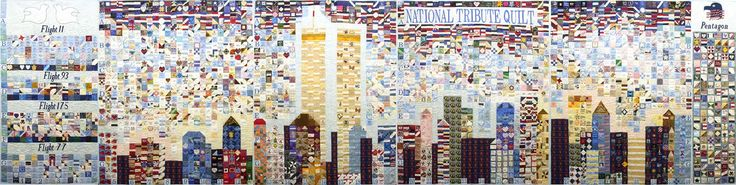 Steel Quilters Pittsburgh 2002, tribute to the victims of the September 11, 2001, attack on America.  Find at the American Folk Art Museum.