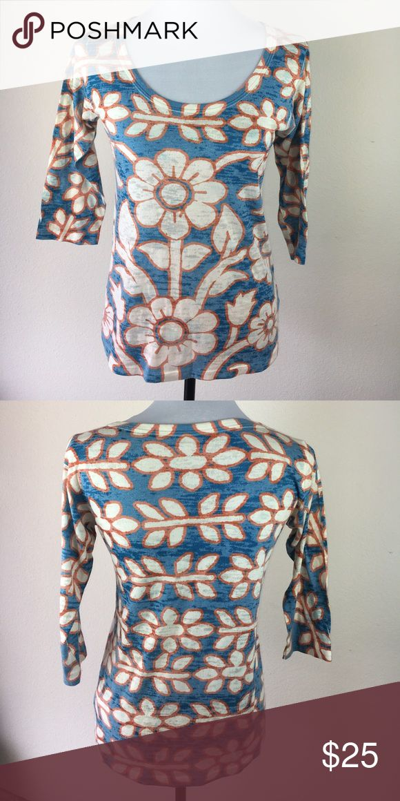 Before & Again burnout top 3/4 sleeve floral small Small floral Anthropologie brand before & again Tops