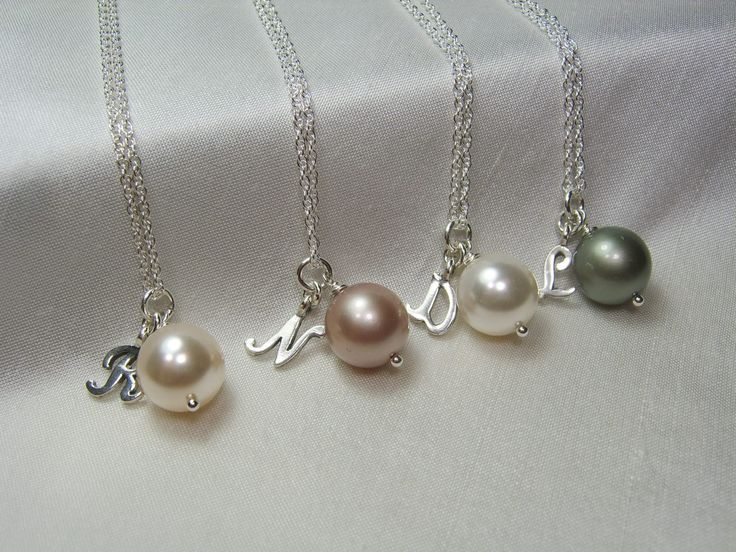 Pearl Initial Necklace Bridesmaid Gift Pearl Bridal Jewelry Personalized Bridesmaids Gifts Classic Bridesmaid Jewelry by MesmericJewelry on Etsy https://www.etsy.com/listing/80255189/pearl-initial-necklace-bridesmaid-gift
