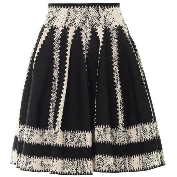 ALEXANDER MCQUEEN Striped jacquard skater skirt (54.360 RUB) ❤ liked on Polyvore featuring skirts, gonne, black, peplum skirt, circle skirt, skater skirt, panel skirt and alexander mcqueen