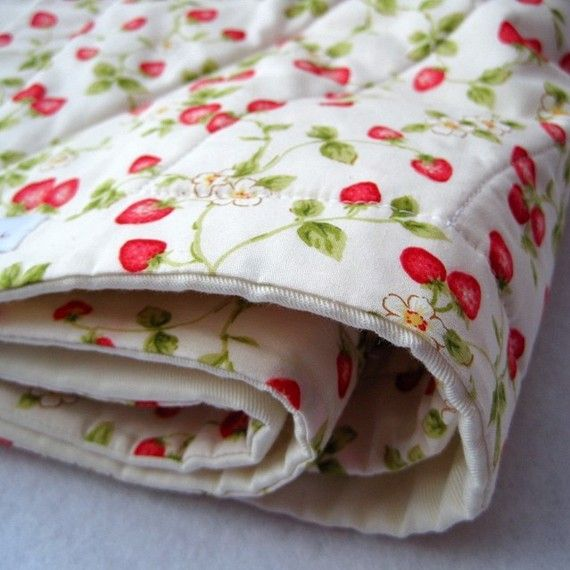 Organic baby quilt in strawberry fields forever by SewnNatural