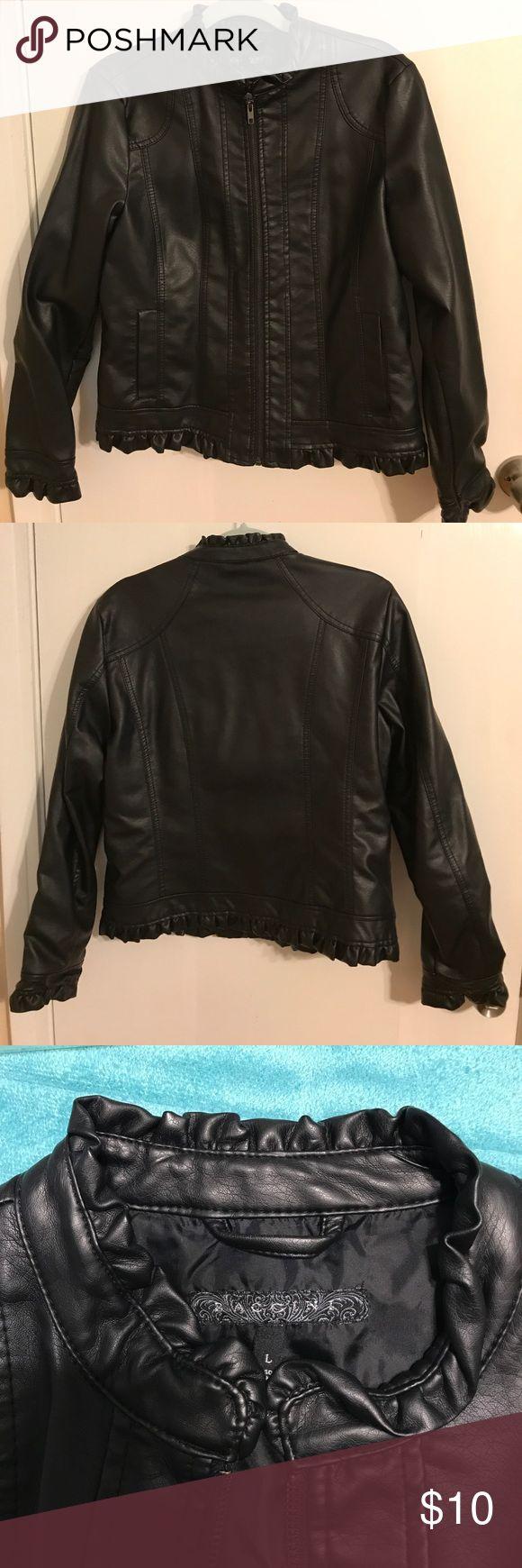 Black faux leather jacket Black faux leather jacket with ruffle detail along neck, sleeves and hem Baccini Jackets & Coats