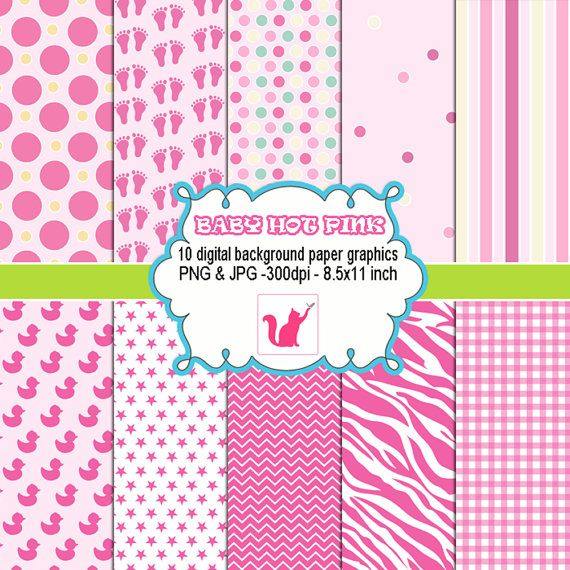 INSTANT DOWLOAD - Cute Hot Pink Clipart Digital Background Paper Graphics Baby Shower Birthday Girl - Cardmaking - Clip Art png jpg
