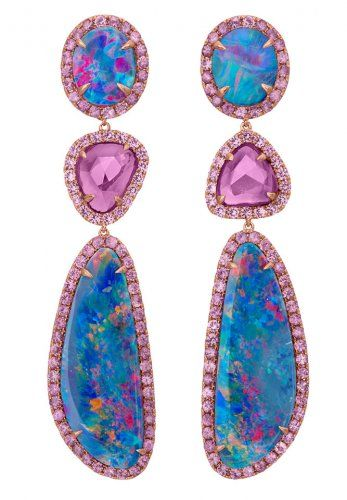 Shawn Warren Jewelry 3 Drop Opal and Assorted Color Pink Sapphire Earrings.