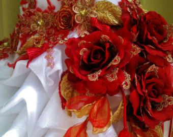 MADE to ORDER Handmade Red White Wedding Dress Train Red Gold Roses Dangling Leaves  Red Gold Embroidered Appliques